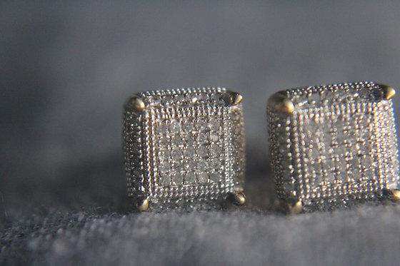 Diamond Cluster Square Earrings
