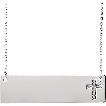Horizontal Bar with Diamond Cross Pendant & Necklace