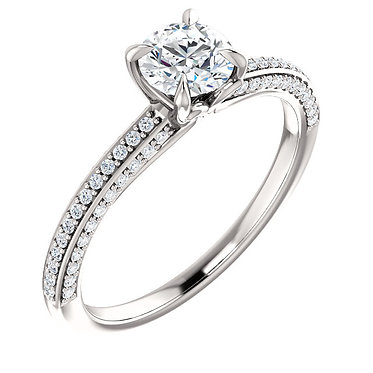 The Round Diamond Accented Full Solitaire