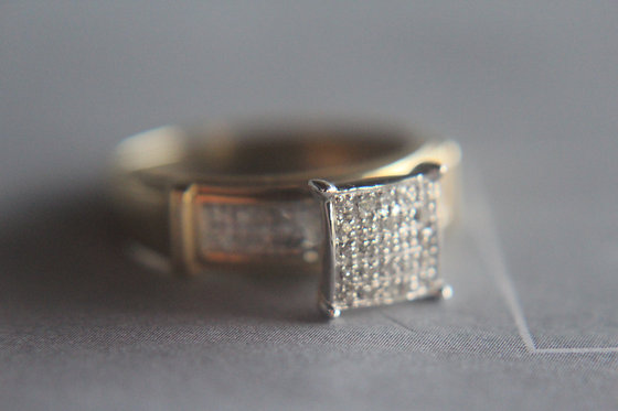 Pave Diamond Engagement Ring & Wedding Band