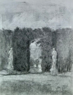 Two Statues, Arched Hedge, and Urn