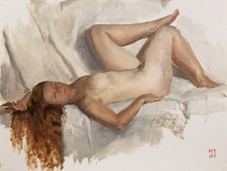 Brooke, white draped couch