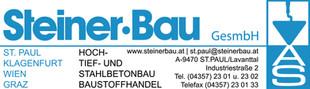 Logo Steiner-Bau GesmbH mit Kontaktdaten