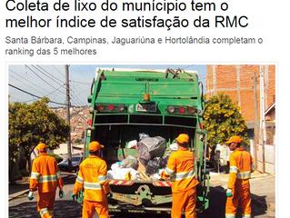 Coleta de lixo do munícipio tem o melhor índice de satisfação da RMC