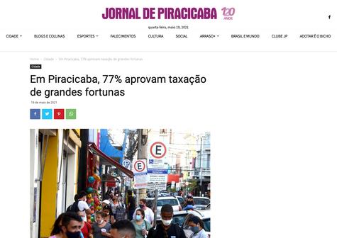 Em Piracicaba, 77% aprovam taxação de grandes fortunas