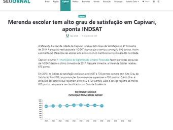 Merenda escolar tem alto grau de satisfação em Capivari, aponta INDSAT