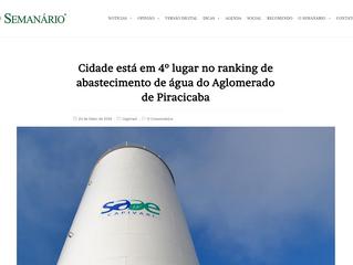 Cidade está em 4º lugar no ranking de abastecimento de água do Aglomerado de Piracicaba