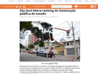 São José lidera ranking de iluminação pública do estado