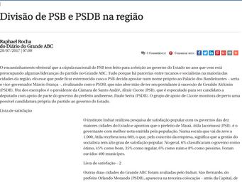 Divisão de PSB e PSDB na região