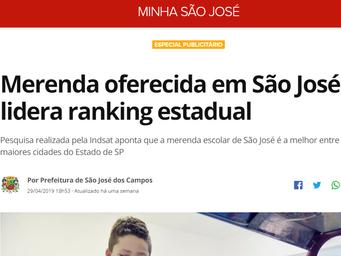 Merenda oferecida em São José lidera ranking estadual