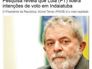 Pesquisa revela que Lula (PT) lidera intenções de voto em Indaiatuba
