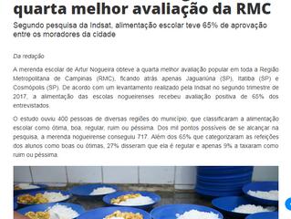 Merenda de Artur Nogueira tem quarta melhor avaliação da RMC