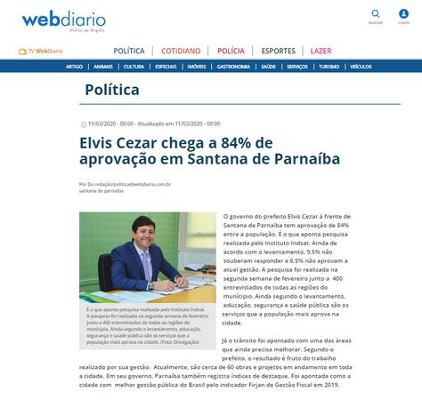 Elvis Cezar chega a 84$ de aprovação em Santana de Paraíba