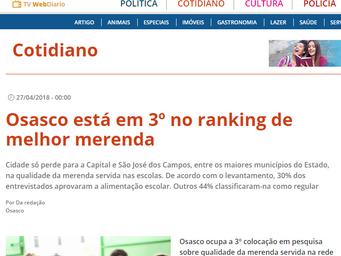 Osasco está em 3º no ranking de melhor merenda