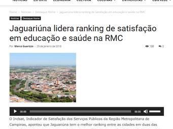 Jaguariúna lidera ranking de satisfação em educação e saúde na RMC
