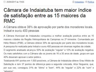Câmara de Indaiatuba tem maior índice de satisfação entre as 15 maiores da RMC