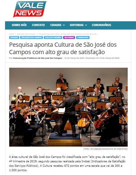 Pesquisa aponta Cultura de São José dos Campos com alto grau de satisfação