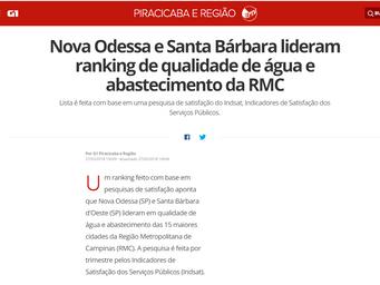 Nova Odessa e Santa Bárbara lideram ranking de qualidade de água e abastecimento da RMC