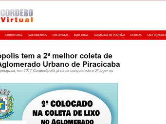 Cordeirópolis tem a 2ª melhor coleta de lixo do Aglomerado Urbano de Piracicaba