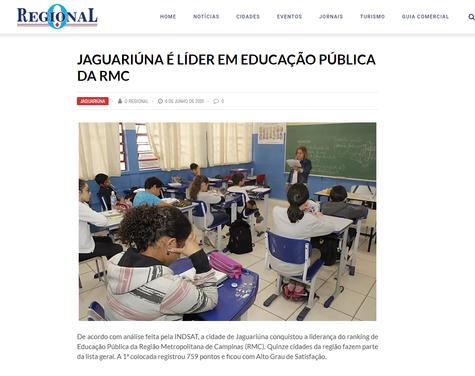 JAGUARIÚNA É LÍDER EM EDUCAÇÃO PÚBLICA DA RMC