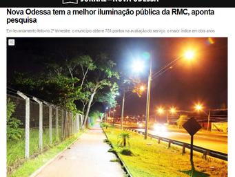Nova Odessa tem a melhor iluminação pública da RMC, aponta pesquisa