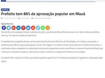 Prefeito tem 86% de aprovação popular em Mauá