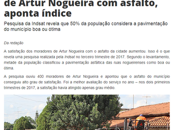 Cresce satisfação dos moradores de Artur Nogueira com asfalto, aponta índice