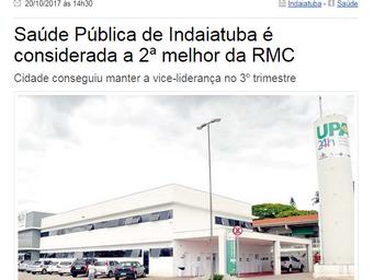 Saúde Pública de Indaiatuba é considerada a 2ª melhor da RMC