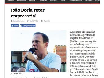 João Doria retorna ao ABC para evento empresarial