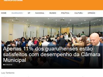 Apenas 11% dos guarulhenses estão satisfeitos com desempenho da Câmara Municipal