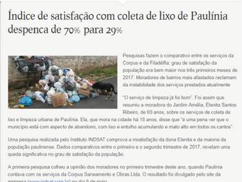 Índice de satisfação com coleta de lixo de Paulínia despenca de 70% para 29%