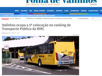 Valinhos ocupa a 1ª colocação no ranking de Transporte Público da RMC