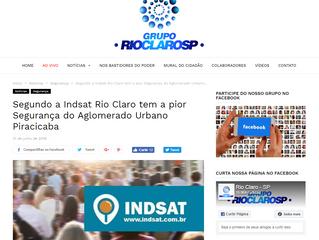 Segundo a Indsat Rio Claro tem a pior Segurança do Aglomerado Urbano Piracicaba