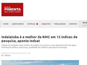 Indaiatuba é a melhor da RMC em 12 índices de pesquisa, aponta Indsat
