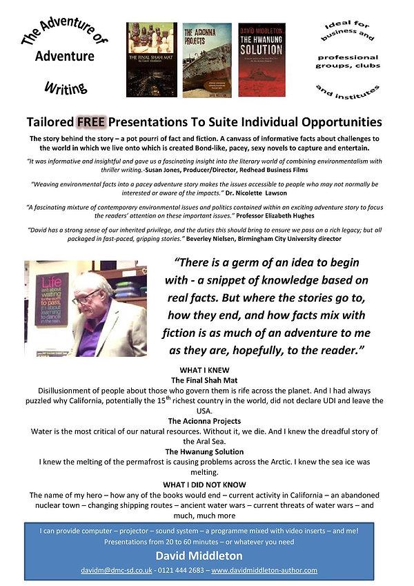 Speaker promotional leaflet