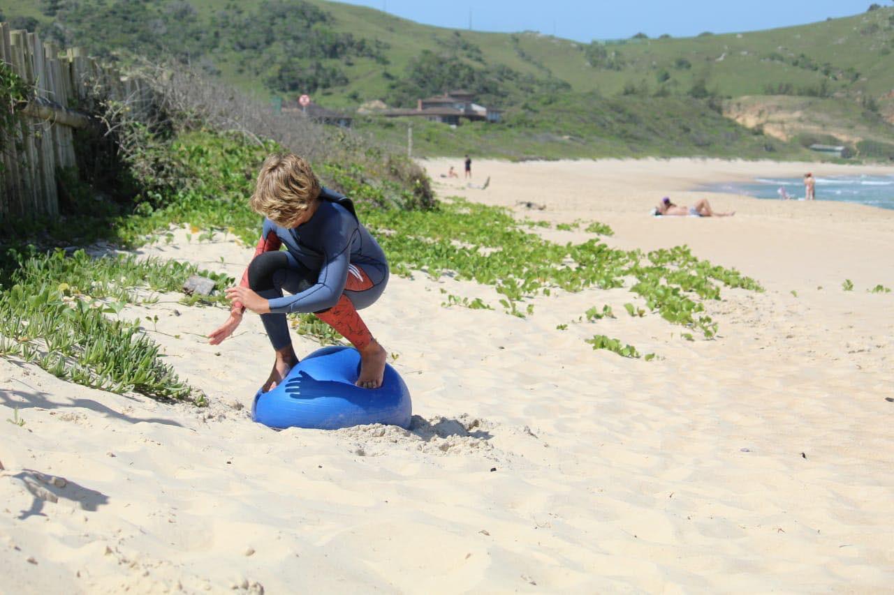 Natan Rosa na simulação do surf