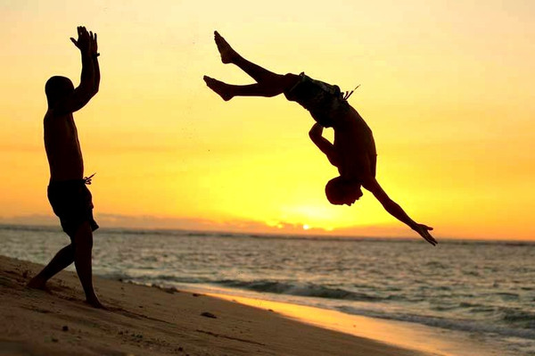 Capoeira e pôr do sol