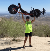 SUPER Janet and her GreenSpeed Aero atop South Mountain