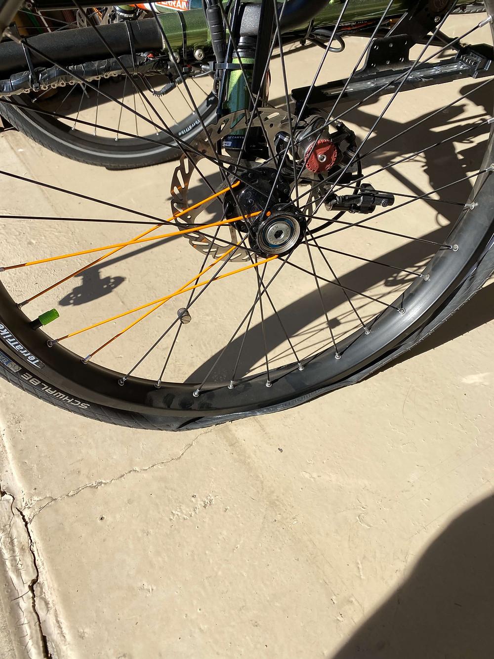 Jeff's flat tire on this TerraTrike Rambler All Terrain