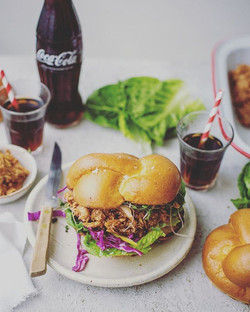 Coca-Cola BBQ pulled chicken burgers. Shot and styled for _food24_sa__Recipe online at www.food24.co
