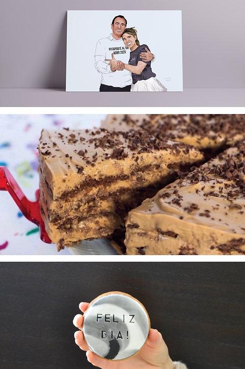 Cuadro ilustrado + Porción de Chocotorta + Cookie