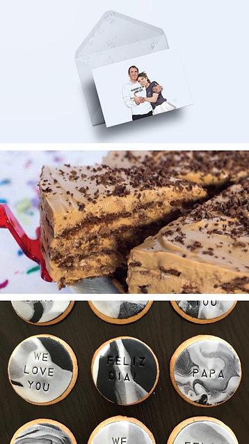 Tarjeta ilustrada + Porción de Chocotorta + Cookie