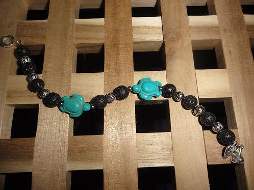 Armband aus Lava und Türkis