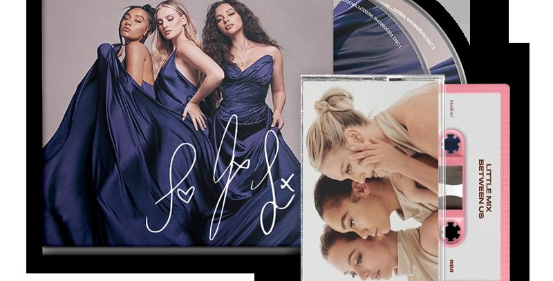 Little Mix - 2x CD Autografado Between Us Deluxe + Cassete Jade Rosa