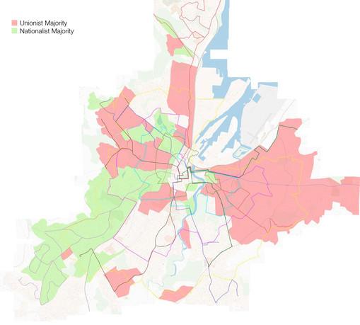 Karte von Belfast mit den segregierten Gebieten und dem erweiterten Busliniennetz.