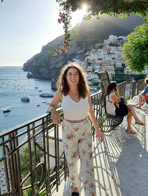 View over Positano with girl in it