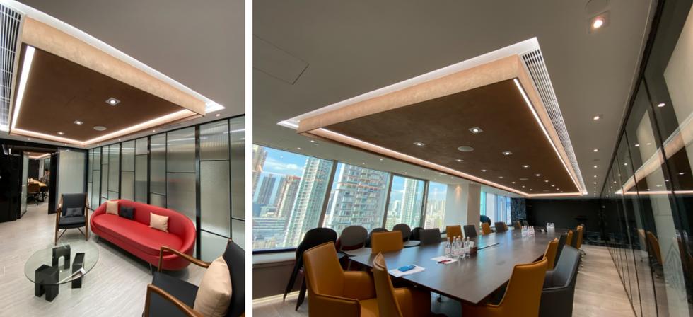 Decovative metallic texture coating on ceiling