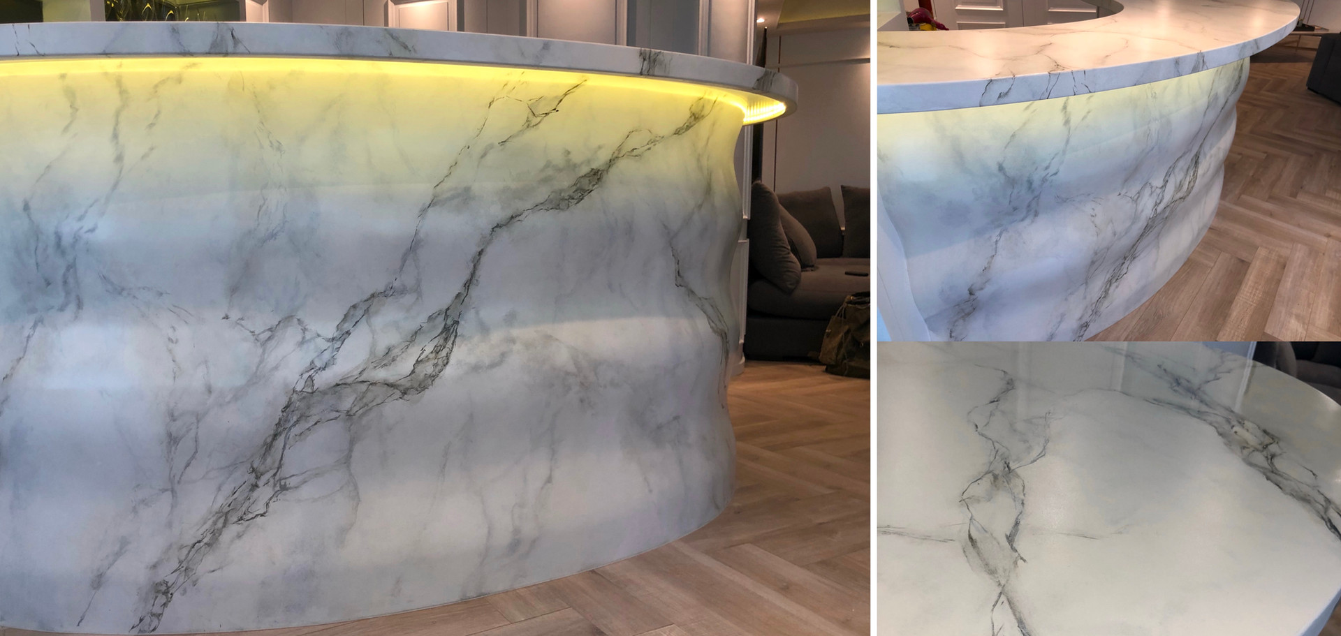Hand painting marble on bar table
