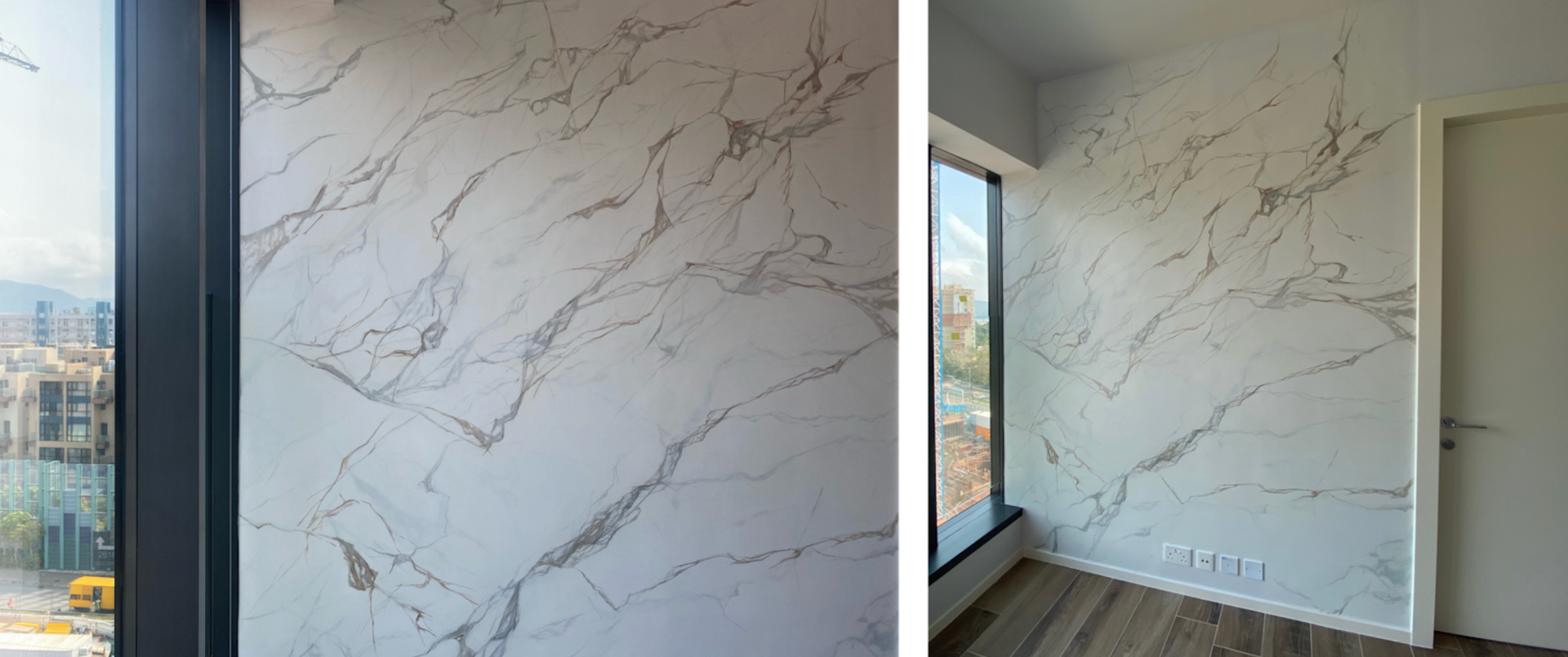 Hand painting marble on wall