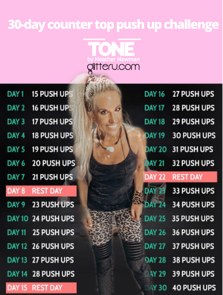 No More Bat Wings!  30-Day counter top push up challenge is on!  print yours and get started!